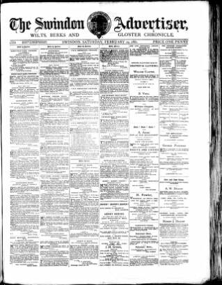 cover page of Swindon Advertiser and North Wilts Chronicle published on February 19, 1881