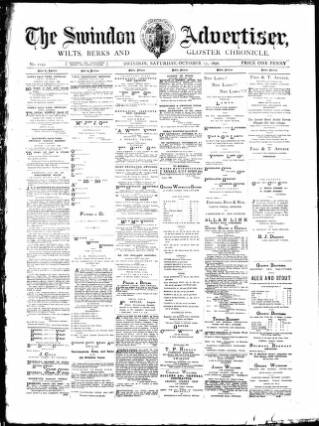 cover page of Swindon Advertiser and North Wilts Chronicle published on October 17, 1896