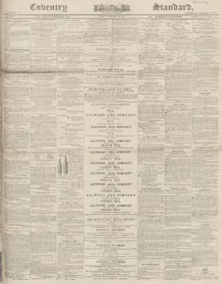 cover page of Coventry Standard published on October 18, 1867