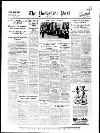 cover page of Yorkshire Post and Leeds Intelligencer published on September 25, 1945