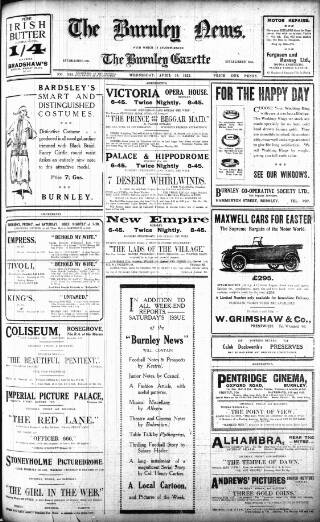 cover page of Burnley News published on April 19, 1922