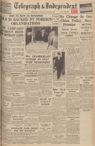 cover page of Sheffield Daily Telegraph published on July 25, 1939
