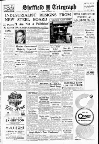 cover page of Sheffield Daily Telegraph published on September 19, 1950