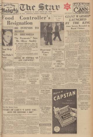 cover page of Sheffield Evening Telegraph published on February 21, 1939