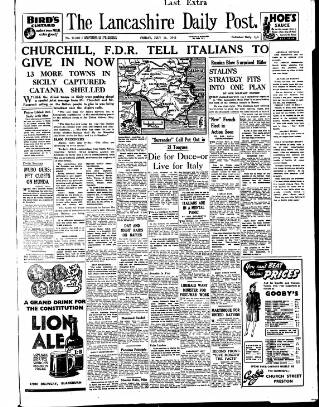 cover page of Lancashire Evening Post published on July 16, 1943