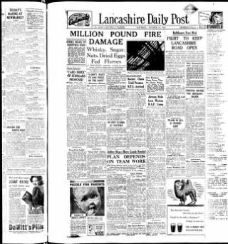 cover page of Lancashire Evening Post published on October 18, 1947