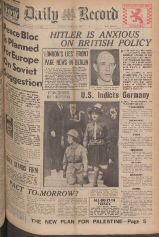 cover page of Daily Record published on March 21, 1939