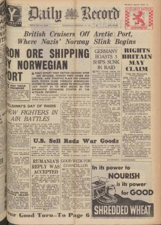 cover page of Daily Record published on February 21, 1940