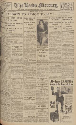 cover page of Leeds Mercury published on June 4, 1929