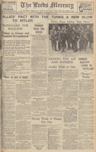 cover page of Leeds Mercury published on October 20, 1939