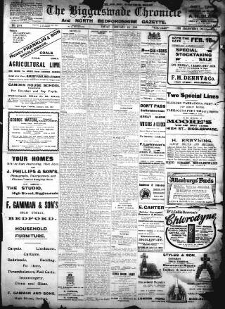 cover page of Biggleswade Chronicle published on February 16, 1912