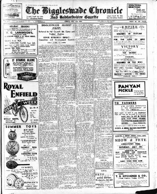 cover page of Biggleswade Chronicle published on July 21, 1933