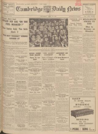 cover page of Cambridge Daily News published on April 22, 1939