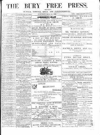 cover page of Bury Free Press published on July 21, 1877