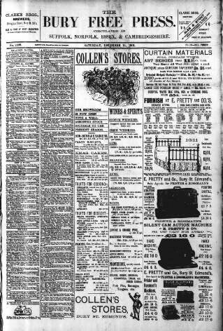cover page of Bury Free Press published on December 14, 1901