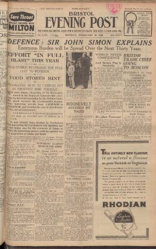 cover page of Bristol Evening Post published on February 20, 1939