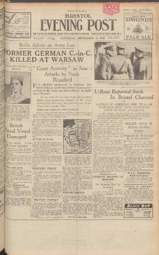 cover page of Bristol Evening Post published on September 23, 1939