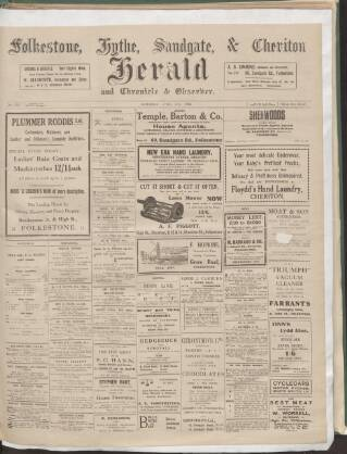 cover page of Folkestone, Hythe, Sandgate & Cheriton Herald published on April 19, 1913