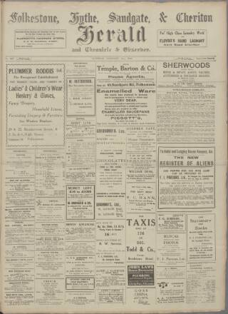 cover page of Folkestone, Hythe, Sandgate & Cheriton Herald published on February 19, 1916