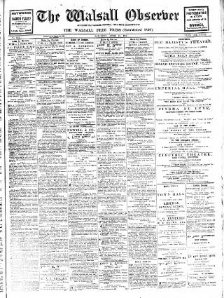 cover page of Walsall Observer, and South Staffordshire Chronicle published on April 18, 1914