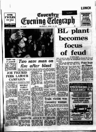 cover page of Coventry Evening Telegraph published on April 19, 1979
