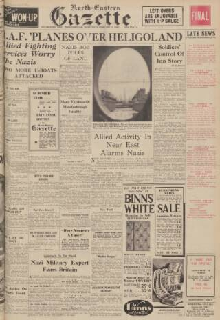 cover page of Daily Gazette for Middlesbrough published on February 21, 1940