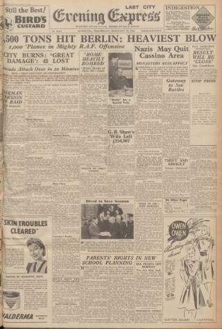 cover page of Liverpool Evening Express published on February 16, 1944