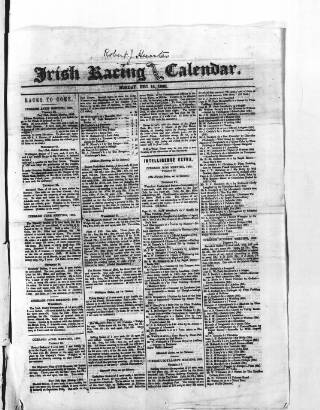 cover page of The Irish Racing Book and Sheet Calendar published on December 14, 1868