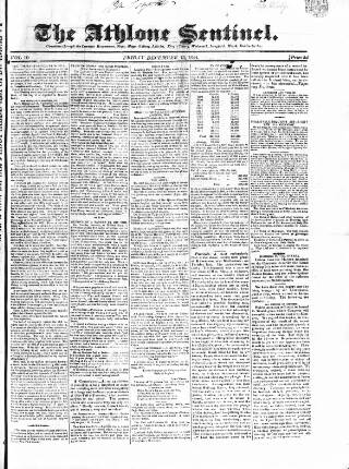 cover page of Athlone Sentinel published on December 13, 1844