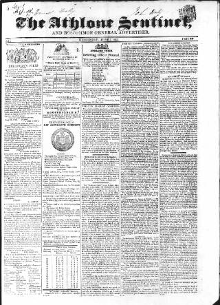 cover page of Athlone Sentinel published on June 1, 1853