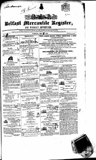 cover page of Belfast Mercantile Register and Weekly Advertiser published on May 27, 1845