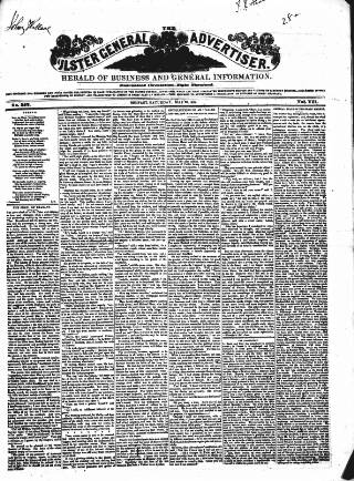 cover page of Ulster General Advertiser, Herald of Business and General Information published on May 26, 1849