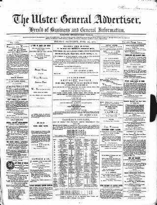 cover page of Ulster General Advertiser, Herald of Business and General Information published on June 24, 1865