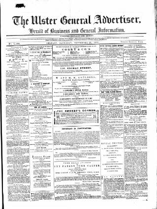 cover page of Ulster General Advertiser, Herald of Business and General Information published on September 25, 1869