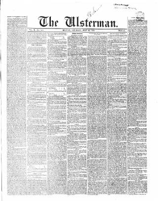 cover page of The Ulsterman published on July 22, 1854