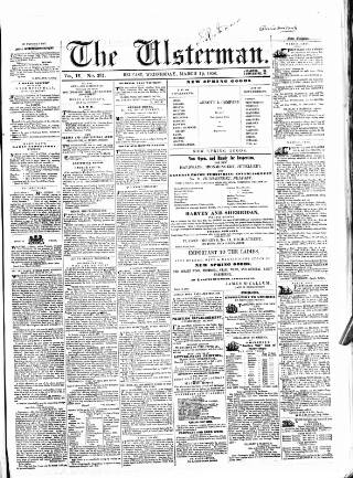 cover page of The Ulsterman published on March 19, 1856