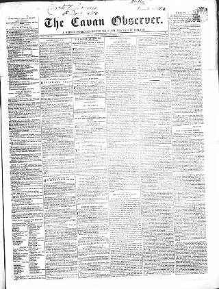 cover page of Cavan Observer published on December 18, 1858