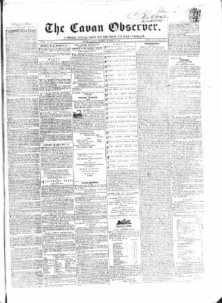 cover page of Cavan Observer published on October 19, 1861
