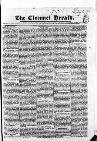 cover page of Clonmel Herald published on April 19, 1834