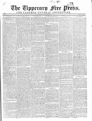cover page of Tipperary Free Press published on December 15, 1849