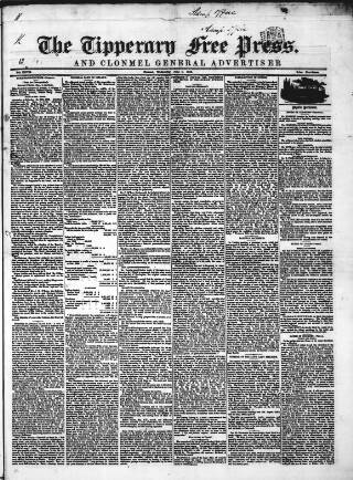 cover page of Tipperary Free Press published on June 1, 1853