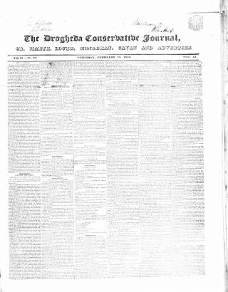 cover page of Drogheda Conservative Journal published on February 16, 1839
