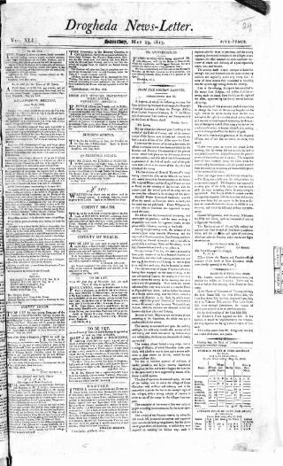 cover page of Drogheda News Letter published on May 29, 1813
