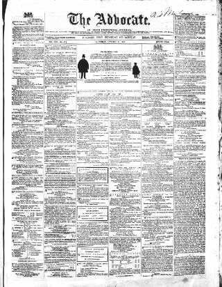 cover page of The Advocate: or, Irish Industrial Journal published on October 24, 1857