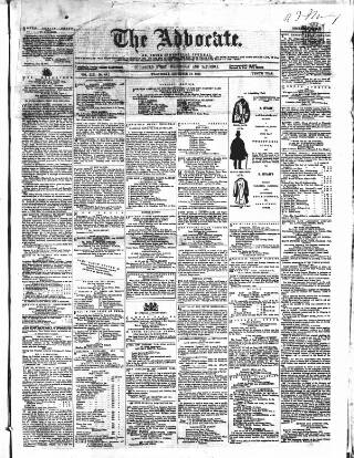 cover page of The Advocate: or, Irish Industrial Journal published on December 16, 1857