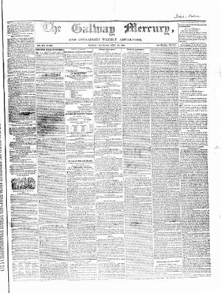 cover page of Galway Mercury, and Connaught Weekly Advertiser published on April 23, 1859