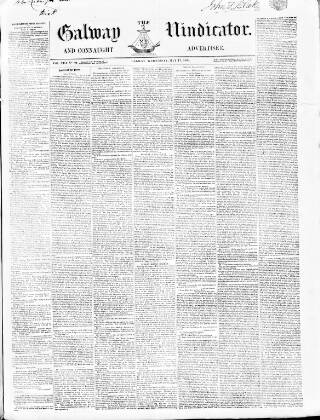 cover page of Galway Vindicator, and Connaught Advertiser published on May 17, 1854