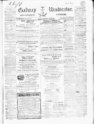 cover page of Galway Vindicator, and Connaught Advertiser published on July 22, 1868