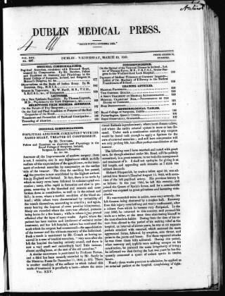 cover page of Dublin Medical Press published on March 19, 1851