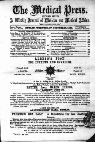 cover page of Dublin Medical Press published on October 18, 1865